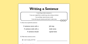 Writing a Sentence Application Activity Sheet - GPS, punctuation, word order, capital letter, full stop, finger spaces, worksheet