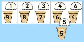 Ice Cream Number Bonds to Ten - 0-10, bonds to ten, number bonds, number activities, number games, addition, numeracy, number bonds to 10, bonds to ten