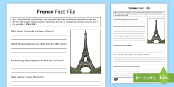 France Fact File - CfE Technologies, research, France, French, ICT, search, TCH,Scottish, worksheet, fact file, activit