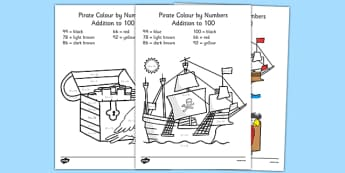 Pirate Themed Addition to 100 Colour by Numbers - pirate, addition to 100, colour by numbers, colour, numbers, add, 100, addition