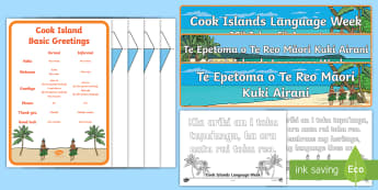 Cook Islands Language Week Resource Pack - bunting, banner, colouring page, basic salutations