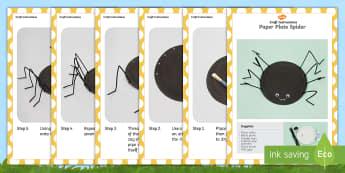 Paper Plate Spider Craft Instructions - minibeast, halloween