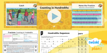 PlanIt Y4 Fractions Hundredths (2) Lesson Pack - Fractions, hundredths, hundredth square, count in hundredths, counting in hundredths, hundredths cou