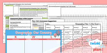 Geography: Our Country Year 1 Unit Assessment Pack