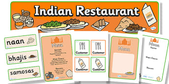 Indian Restaurant Role Play Pack - Indian restaurant, role play, pack, curry, food, takeaway, Indian culture, India, menu, poppdom