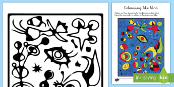 Colouring like Miró Colouring Page - Miró, surrealism, art, drawing, painting, painter
