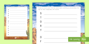 Story of Texas Acrostic Poem - United States History, State history, Texas, history, poem, Acrostic poem, creative assessment