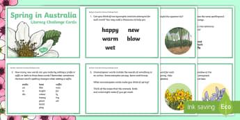5-6 Spring in Australia Literacy Challenge Cards - literacy, challenge, activity, Spring, Australia, Seasons, Weather,Australia