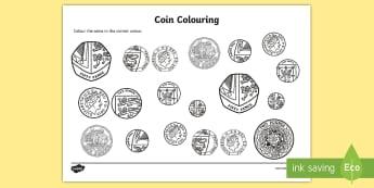 Coins Colouring Activity Sheet- money, coins, numeracy, colour