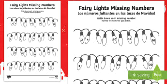 Christmas Fairy Light Missing Numbers Counting in 2s, 3s, 5s and 10s Activity Sheet English/Spanish - numbers, activity, sheet, numbers, counting in2s, EAL, worksheet