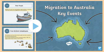 Migration to Australia Key Events PowerPoint - HASS, history, migrate, stories, colony, convicts, family histories, 1800s, ACHASSK109, Australian C