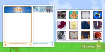 Activité de classement avec photos : Les vêtements d'été et d'hiver - activité de classement avec photos : les vêtements d'été et d'hiver, tri, activité, activité