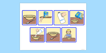 7 Step Sequencing Cards Eating Breakfast - sequencing, cards, eat