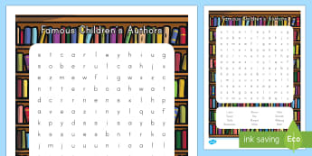 Famous Children's Authors Word Search - World Book Day, Lionni, Seuss, Carle, Berenstain, Brown, Rey, Munsch, Milne, Yolen, Sendak, Allsburg