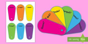 Leque de perguntas - leque de perguntas, jogo de escrita, vocabulário, conversa, histórias
