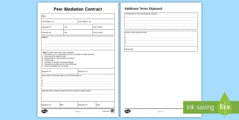 Peer Mediation Contract - peer mediation, contract, peer, mediation