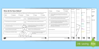 What did the Nazis Believe? Differentiated Activity Sheets  - Secondary - History - Nazi Germany, Reich, Treaty of Versailles, Nazi ideology, political, Aryan, an