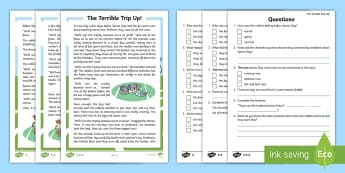 The Terrible Trip Up Differentiated Reading Comprehension Activity - Sports Day, P.E., Race, Story, Fiction, Teamwork, Questions, Values