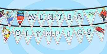 Winter Olympics Bunting - olympic, sport, olmpic display, bunting