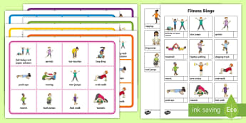 Fitness Bingo - Health, Sports and P.E, fitness, bingo