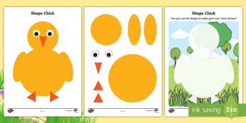 Chick 2D Shape Activity Sheets - EYFS, Early Years, KS1, Easter, chicks, spring, Maths, 2D shapes, shape recognition, shape picture,
