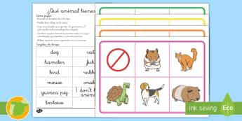Bingo: Los animales - Inglés  - animals, english, lengua extranjera, inglés, pets, mascotas,,Spanish-translation
