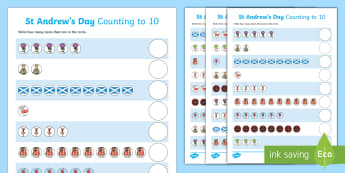 St Andrew's Day Counting to 10 Activity Sheet - worksheet, Patron Saint Of Scotland, Scotland, Counting To 10, Numbers To 10, Jesus Disciples,,Scott