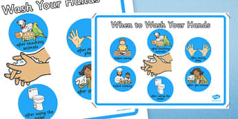 When to Wash Your Hands Display Poster - hygiene, keeping clean, hand washing