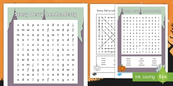 Scary Derry-Londonderry Word Search - Halloween, festival, carnival, samhain, parade