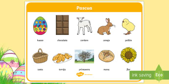 Tapiz de vocabulario: Pascua - Semana Santa, Pascua, Holy Week, Easter,Spanish.