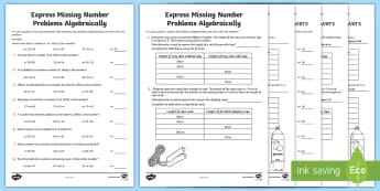 Year 6 Expressing Missing Number Problems Algebraically Activity Sheet Pack - Key Stage 2, Maths, algebra, missing number, equations, expressions, worksheet