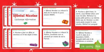 Sfântul Nicolae Cartonașe informative - Sf nicolae, crăciun, craciun, citire, lectură, mos nicolae, traditii, 6 decembrie, Romanian