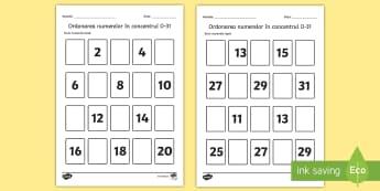 Numerele lipsă în concentrul 0 - 31 - Fișă de lucru - matematică, numerație, română, numere, 0-20, ordinea numerelor, număr, fișe, fise,Romanian