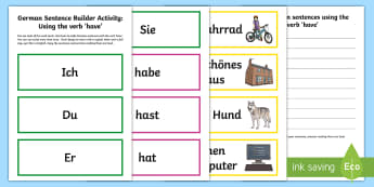 Verb Have Sentence Builder Activity - German, Grammar, MFL, Have, Verb, Verben