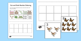 Garden Cut and Stick Number Ordering Sheets 1-10 - garden, cut, stick, number ordering, sheets