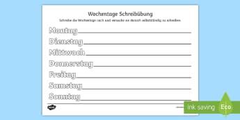 Wochentage Schreibübung Arbeitsblatt - schreiben lernen, nachspuren, nachschreiben, montag, dienstag, mittwoch,German
