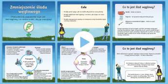 Prezentacja PowerPoint Zmniejszenie śladu węglowego - środowisko, ekologia, dzień, ziemi, ziemia, planeta, atmosfera, zanieczyszczenia, ślad, węglowy,