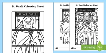 St David Stained Glass Window Colouring Page - Dewi Sant, St David's Day, st david's day, st david, colouring page, stained glass window. wales,