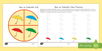 Spin an Umbrella: Color Practice Game - Spring, First day of Spring, Colors, Spin a Color, Coloring, Umbrellas, Fine Motor Skills, spring, r