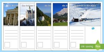 Deutschland Sehenswürdigkeiten Postkarten - Deutschland, DAF, DAZ, Erdkunde, Landeskunde, Sehenswürdigkeiten, Berlin, Neuschwanstein, Alpen, Be