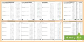 Transformation Activity Sheets - Enlargement, Enlarging, Scale Factor, worksheets, Centre of Enlargement, Rotation, Rotating, Centre