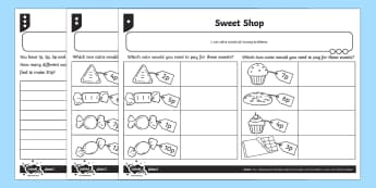 Sweet Shop Differentiated Activity Sheets - Measurement, problem solving, coins, coin value, british coins, number bonds to 20