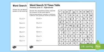 Multiplication 12 Times Tables Word Search Activity Sheet English/Polish - Multiplication 12 Times Tables Wordsearch Worksheet - multiplication, 12 times tables, wordsearch, w