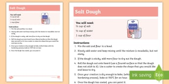 Salt Dough Recipe - salt, dough, ornaments, mothers day, create