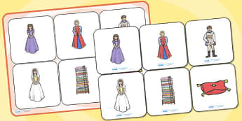 The Princess and the Pea Matching Cards and Board - the princess and the pea, the princess and the pea image matching game, sen traditional tale resources