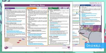 Ronald the Rhino Twinkl Fiction Topic Web - cross-curricular, subjects, theme, y2, year 2, animals, planning, plans, mtp, medium, term, plan, ks