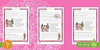 Diwali Comprensión lectora de atención a la diversidad - Diwali, Hindú, Hinduismo, festival,festival de la luz, rama, sita, ravana, comprensión lectora, le