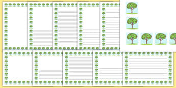 Springtime Tree Portrait Page Borders- Portrait Page Borders - Page border, border, writing template, writing aid, writing frame, a4 border, template, templates, landscape