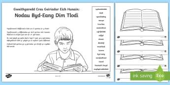 Gweithgaredd Creu Geiriadur Eich Hunain: Nodau Byd-Eang Dim Tlodi - Lles, y byd, dim arian, elusen, tlawd, newyn, poverty,Welsh