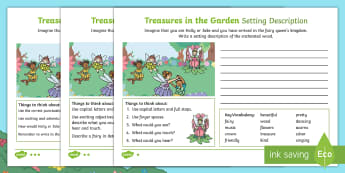 Treasures in the Garden Fairy Setting Description Differentiated Activity Sheets - setting, fairy, enchanted, creative, writing